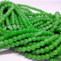 Perla de vidrio 6 mm en color verde limón,tira de 140 perlas