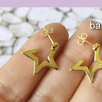 Aro baño de oro en forma de estrella, 18 mm, set de 6 pares (por mayor)