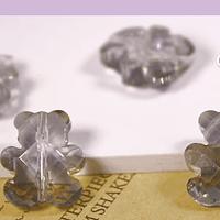 Cristal tipo separador en forma de oso, color gris, 13 x 11 mm, set de 4 unidades