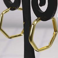 Argolla baño de oro hexagonal, 21 mm, por par