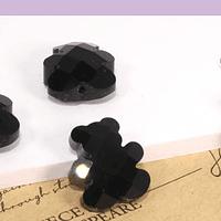 Cristal tipo separador en forma de oso, color negro, 13 x 11 mm, set de 4 unidades