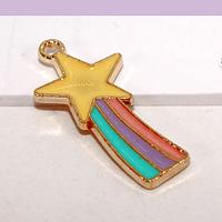 Dije esmaltado estrella fugaz, 27 x 13 mm, por unidad