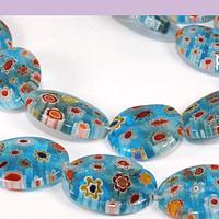 Vidrio murano en forma ovalada, color celeste con flores, 18 x 13 mm, tira de 15 piezas