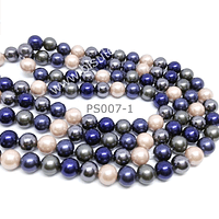 Perla Shell 6 mm, en colores verdes, azul, grises y rosados, tira de 64 perlas aprox