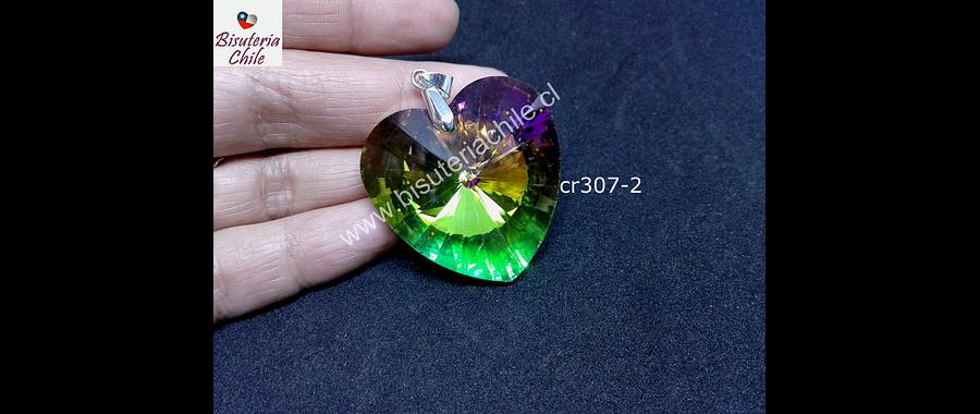 Cristal en forma de corazón grande tornasol, 40 x 40 mm, por unidad, incluye valier