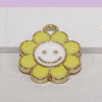Dije esmaltado flor amarilla en base dorado, 14 mm, por unidad