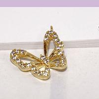Die zirconia y baño de oro en forma de mariposa, 12 x 11 mm, por unidad