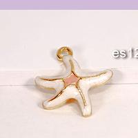 Dije esmaltado estrella de mar, color blanco, base dorado, 16 mm, por unidad