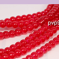 Perla de vidrio color rojo de 6 mm, tira de 72 perlas aprox