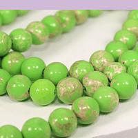 Turquesa imperial 6 mm, en tonos verde, tira de 63 piedras aprox