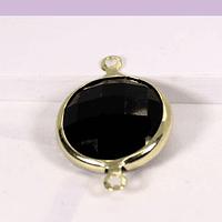 Colgante zirconia negro con baño de oro, doble conexión, 22 x 14 mm, por unidad