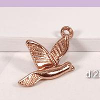 Dije pájaro baño de cobre, 22 x 14 mm, por unidad