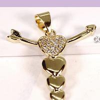Colgante cruz con zircones, baño de oro, 22 x 22, por unidad