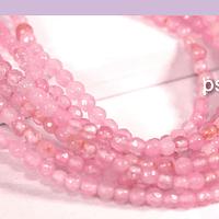 Agatas, Agata 2 mm  facetada, en tonos rosa, tira de de 165 piedras aprox