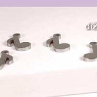Dije acero en forma de nota musical, 11 x 6 mm, set de 4 unidades