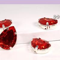 Cristal soutache rojo con aplicación metálica plateada, 18 x 13 mm, set de 4 unidades