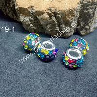 Separador con strass multicolor 12 mm de diámetro, 8 mm de diámetro, agujero de 5 mm, por unidad