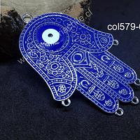 Colgante mano de hamsa azul con ojo turco, 73 x 52 mm, por unidad
