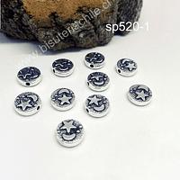 Separador plateado  con estrella y luna, 9 mm de diámetro, 2,5 mm, de alto, agujero de 1,5mm, set de 10 unidades