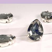 Cristal soutache gris con aplicación metálica plateada, 18 x 13 mm, set de 4 unidades
