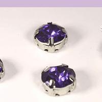 Cristal soutache lila con aplicación metálica plateada, 8 mm, set de 4 unidades