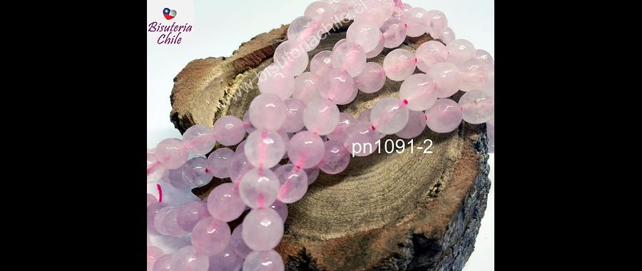 Cuarzo rosado facetado 8 mm, tira de 48 piedras aprox