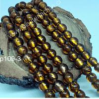 Perla de vidrio hindú  café, de 8 mm, tira de 35 unidades aprox.