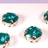 Cristal soutache calipso verdoso con aplicación metálica plateada, 8 mm, set de 4 unidades