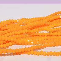 Cristal facetado naranjo de 2 x 2 mm, tira de 190 cristales aprox (la medida de los cristales es de varía en 0.5 mm aprox)