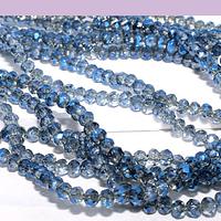 Cristal facetado gris tornasol con brillos azules de 2 x 2 mm, tira de 190 cristales aprox (la medida de los cristales es de varía en 0.5 mm aprox)