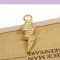 Colgante zirconia y baño de oro en forma de rayo, 23 x 6 mm, por unidad