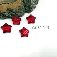 Cristal en forma de estrella color rojo, 14 x 14 mm, set de 4 unidades (no incluye valier)