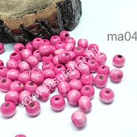 Cuenta de madera color rosado 8 mm, bolsa de 25 grs. , 150 cuentas aprox.