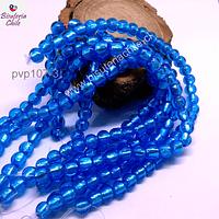 Perla de vidrio hindú azul, de 8 mm, tira de 35 unidades aprox.