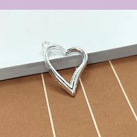 Dije baño de plata en forma de corazón, 19 x 12 mm, set de 6 Unidades (por mayor)