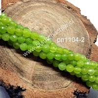 Agata 4 mm, en tono verde limón , tira de 90 piedras aprox.