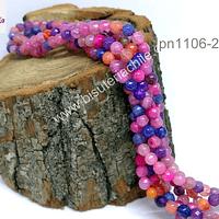 Agata 4 mm, en tono rosados, naranjos y lilas , tira de 90 piedras aprox.