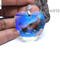 Cristal en forma de corazón grande transparente tornasol, 40 x 40 mm, por unidad, incluye valier