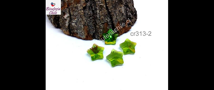 Cristal en forma de estrella color verde claro, 14 x 14 mm, set de 4 unidades (no incluye valier)
