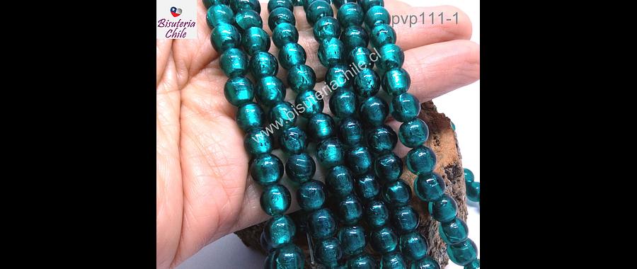 Perla de vidrio hindú calipso, de 8 mm, tira de 35 unidades aprox.
