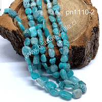 Amazonita aqua redondeada Irregular, tira de 55 piedras, de 7 x 6 mm aprox.