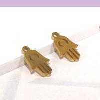 Dije acero dorado mano de hamsa, 11 x 7 mm, set de 2 unidades