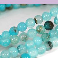 Agatas, Agata lisa de 6 mm, en tonos celestes, tira de 63 piedras aprox