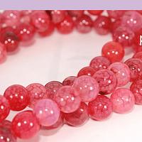 Agatas, Agata lisa de 8 mm, en tonos rosa fuerte, tira de 48 piedras aprox
