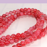 Agatas, Agata lisa de 6 mm, en tonos rosa profundo, tira de 63 piedras aprox