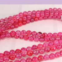 Agatas, Agata lisa de 4 mm, en tonos rosa oscuro, tira de 90 piedras aprox