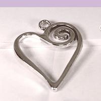 Colgante plateado corazón, 32 x 21 mm, por unidad