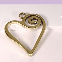 Colgante dorado corazón, 32 x 21 mm, por unidad