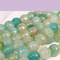 Agatas, Agata facetada en tonos calipso verdoso de 8 mm, tira de 46 piedras apróx