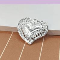 Colgante Corazón baño de plata, 18 x 19 mm, set de 6 unidades (por mayor)